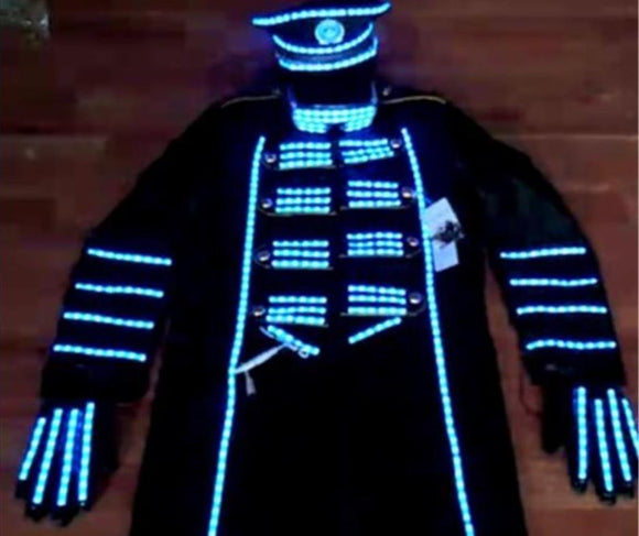 Blue Color Led Luminous Men Suit With Hat Led Gloves Led Light Up Stage Performance DJ Singer Dancer Clothes Host Suit