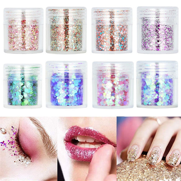 New Body Makeup Sequins  8 Bottle Loose Sequins Powder Face Body Glitter Paillett    35