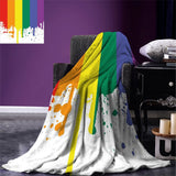 Rainbow Throw Blanket Old Tainted Wooden Planks in Rainbow Colors Flag Pattern Pride Theme Vintage Print Flannel Blanket for Bed