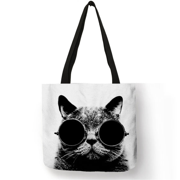 2018 Simple Design Handbag Bolso Femenino for Women Letters Cats Eco Linen Reusable Tote Bags Shopping Shoulder bag