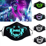 Game KDA K/DA Akali Mask Assassin S8 Blue Green Face Mask Night Lights Cosplay Costumes Prop
