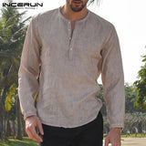 Men's Mandarin Collar Long Sleeve Button Down Casual Shirts (3 Colors)