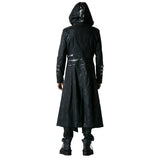 Gothic Black Winter Men's Long Coat Steampunk Twill High Collar Jackets Punk Leather Coats Overcoats with Detachable Hem and Hat