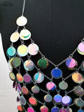 Chran Multi Sequins Seascale Crop Top Disco Party Chain Necklace Rave Bra Bralete Lingerie Festival Costume Wear Jewelry CRS209