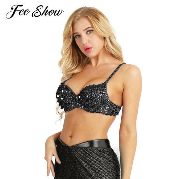 #34/75 36/80 38/85 Women Fashion Sparkle Sequins Beading Padded Bra Top for Raves Dances Club Wear Belly Dancing