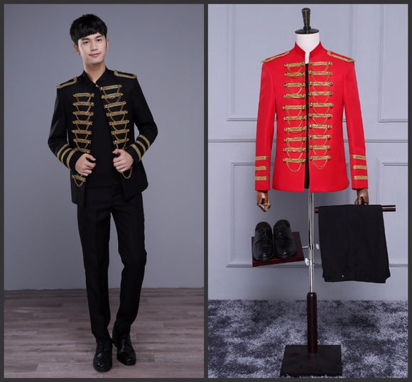 Black Or Red Stand Collar Epaulet Chains Men Jacket And Pants Bar Nightclub Male Singer Wedding Costume Show Stage Wear