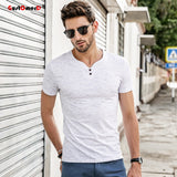 GustOmerD 2018 Men's t shirt men Brand T Shirt V-neck T Shirts Summer Casual Solid Color Short Sleeve Slim Fit Cotton tee shirt