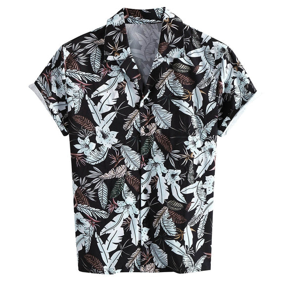 Shirts Men Dress Hawaiian Print Short Sleeve Shirts Streetwear Turn Down Collar Party Dress Shirt Plus Size Button Chemise #V