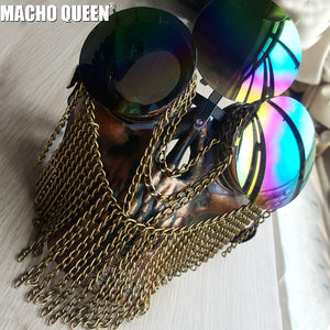 Holographic Steampunk Goggles Burning Man Couture Skull Face Mask Drag Queen Costumes Summer Festival Rave Clothes Stage Gear