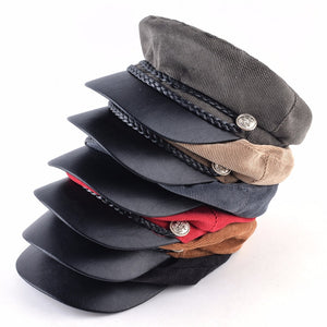 Women Corduroy Military Cap Spring Autumn Newsboy Cap Lady Twist Braiding Button Flat Beret Hat Fashion PU Visor Octagonal Boina