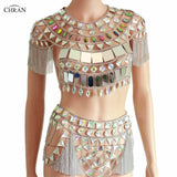 Bejeweled Mirror Fringe Body Chain Crop Top/Skirt