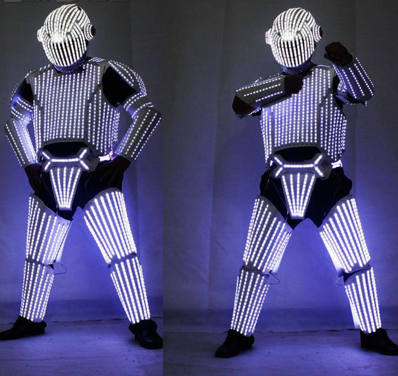 New Style White LED Robot Suits, Led Lights Costumes Clothing, Star Wars White Soldiers Cosplay performance Clothing