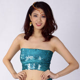 Sexy Jazz Belly Latin Dance Costumes Women Seamless Sequin Tube Top Shiny Strapless Festival Club Party Bandeau Crop Top Stretch