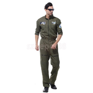 Deluxe Pilot Army Costume Mens Fighter Captain Overalls Air Force Flier Jumpsuit Dressing up Outfit Halloween