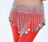Performance Tribal Belly Dance Hip Scarf Waist Body Jewelry Shiny Beaded Coins Belt Silver Golden