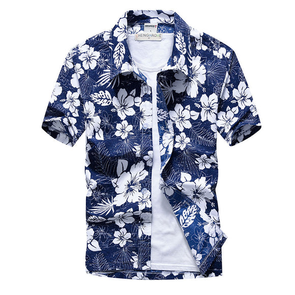 Pink Hawaiian Beach Short Sleeve Shirt Men 2019 Summer Fashion Palm Tree Print Tropical Aloha Shirts Mens Party Holiday Chemise