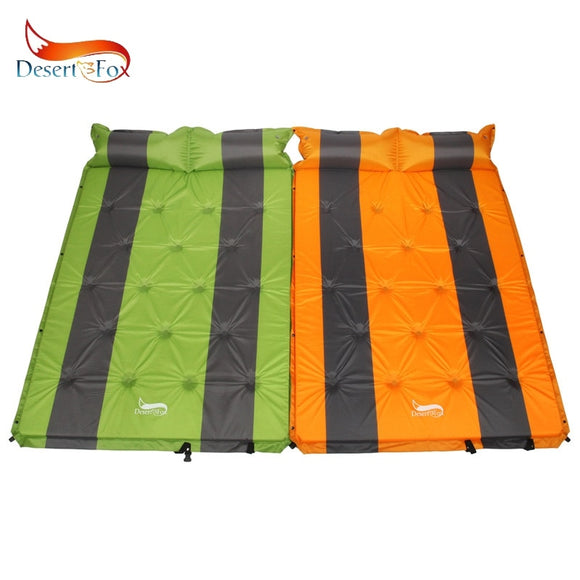 Desert&Fox 2 Person Self-Inflating Sleeping Pads with Air Pillow,192x132cm Tent Sleeping Mattress Portable Lightweight Pads