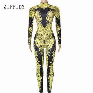 Gold Rhinestones Printed Jumpsuit Women's Birthday Party Dance Wear Nightclub Female Singer Show Leggings Outfit Sexy Clothes