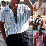 Men Summer Fashion Striped Shirts Top Harajuku Casual Short Sleeve Shirts Men Male Slim Fit Shirt Camisa Masculina Chemise Homme