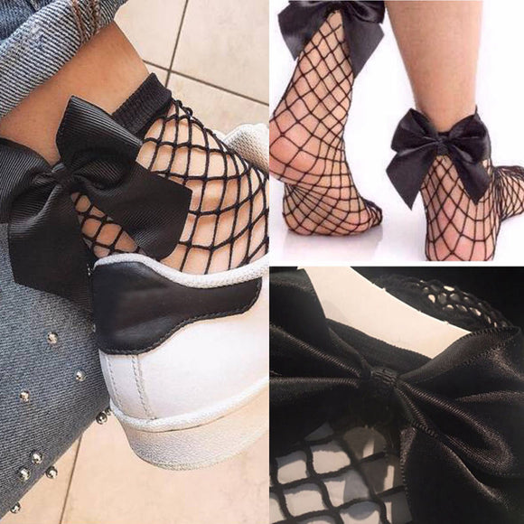 Summer Fashion Women Harajuku Fishnet Socks With Bow Breathable Mesh Lace Hollow Out Net Ankle Socks Sokken Black Short Socks