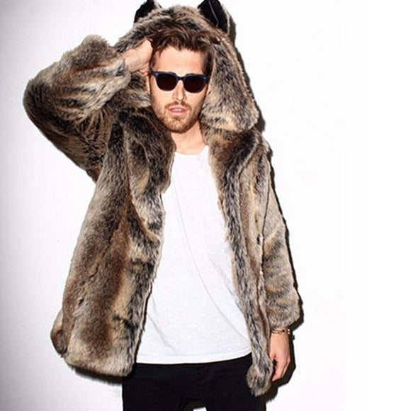 Men's Faux Fur Hooded Ears Coat