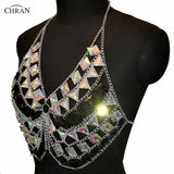 Chran AB Irridescent Gem Stone Crop Top Disc Party Chain Necklace Rave Bra Bralete Lingerie Festival Costume Wear Jewelry CRS403