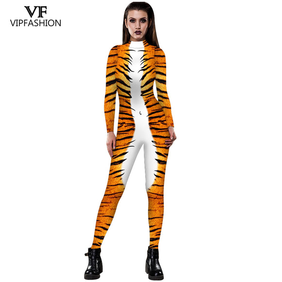 VIP FASHION 2019 Halloween Cosplay Costumes Leopard 3D Printing Animal Zentai Snake Bodysuit Suit Jumpsuits
