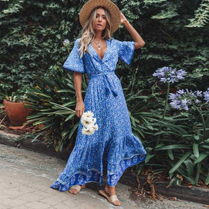 Boho Chic Long Maxi Dress (Blue Aqua)