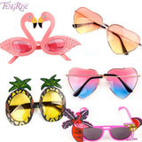 FENGRISE Beach Party Novelty Flamingo Party Decorations Wedding Decor Pineapple Sunglasses Hawaiian Funny Glasses Event Supplies