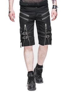Punk Gothic Men Causual Shorts Zipper Personality Fashion Knee Length Shorts Men's Casual Summer Short Pants