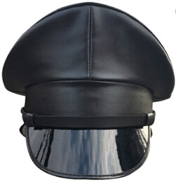 Men's Black Vinyl Military Cap