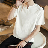 MRDONOO 2018 New Summer Brand Shirt Men Short Sleeve Loose Thin Cotton Linen Shirt Male Fashion Solid Color  V-Neck Tees M30