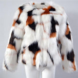 Autumn and Winter Mixed Color Artificial Imitation Fox Fur Jacket Coats Imitation Fur Hair Short Coat Europe and America Jackets