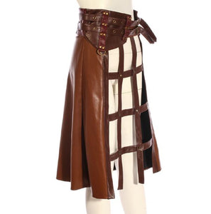 Vintage Punk Long Skirt Women A-line PU Leather Belt Skirt COFFEE SP214CF