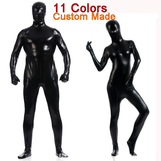 Costom Made Women Men Sexy Black Pink White Vinyl PVC Latex Zentai Suit /Catsuit /Bodysuit Full Body Zentai Costumes Suit