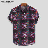 INCERUN Breathable Cotton Men Shirt Ethnic Style Print Vintage Short Sleeve Streetwear Tops Loose Men Beach Hawaiian Shirts 2019