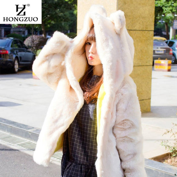 Women's Faux Fur Hooded Ears Coat