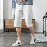 M-5XL Elastic Waist Cropped Trousers Men Streetwear  Linen Pants Men Plus Size Fashion Linen Capri Pants Casual Man XXXXXL