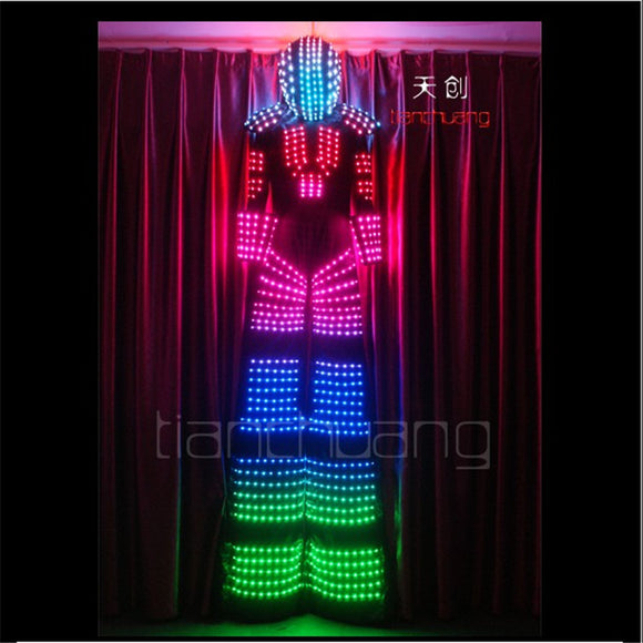TC-78 Programmable ballroom dance led costumes robot men stilts stage show wears suit dj club bar performance clothe rgb light
