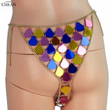 Chran Burning Man Wear Skirt Outfit Disco Party Panty Beach Cover Up Chain Necklace Rave Bra Bralette Lingerie Jewelry CRM288