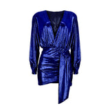 Metallic Shiny Long Sleeve Deep V Neck Wrap Mini Dress (4 Colors)
