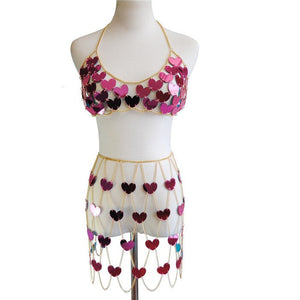 New Style Glitter Heart Shape Sequins 2 Piece Sets Low Cut Sleeveless Crop Tops Plaid Hollow Out Skirts Rave Festival Outfits