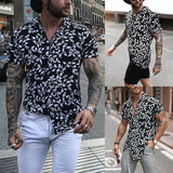 Men Summer Holiday Hawaiian Shirts Floral Striped Casual Short Sleeve Slim Shirts Man Male Fashion Beach Party Loose Shirt Tops