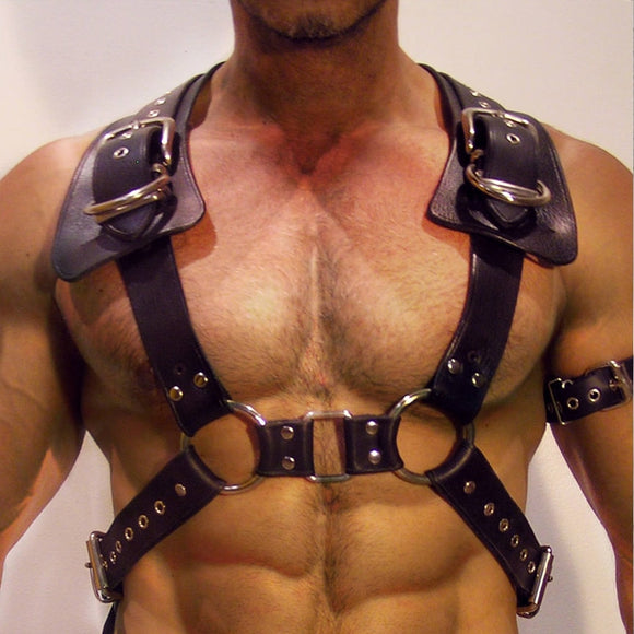 Men's Leather Harness Adjustable Buckle