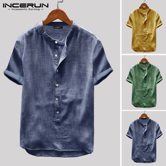 INCERUN 2019 Breathable Mens Shirt Button Up Loose Short Sleeve Solid Color Pullovers Harajuku Vintage Casual Shirt Men Camisa