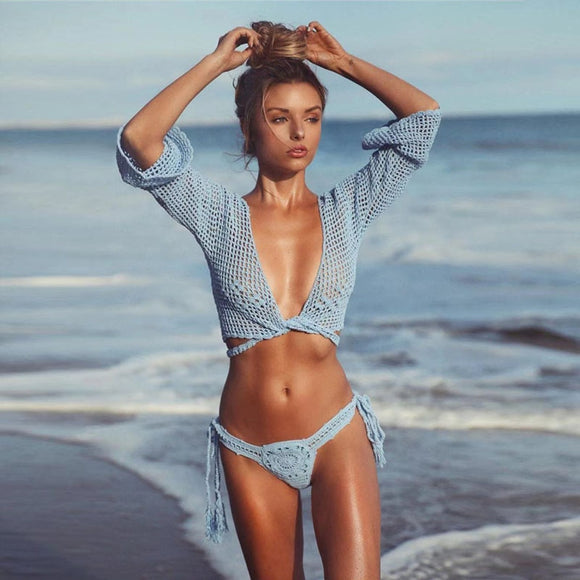 2019 Crochet Bikini Swimsuit Women Swimwear Knitting 2 Pieces Bathing Suit Sexy Deep V Lace Up Beach Cover Up Women Tops Female