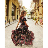 2019 New Women Summer V Neck Vintage Boho Long Maxi Floral National Chiffon Dress Party Beach Dress Floral Sundress