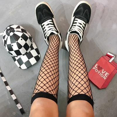 Summer Women Sexy Grid Socks Short Fishnet Socks Hollow Lattice Geometry Black Breathable Net Socks Female 1pair=2pcs tt099