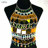 Chran Mirror Perspex Skirt Rave Bra Set EDC Outfit Irridescent Necklace Bodysuit Chain Crop Tops Costume Wear Jewelry CRM845