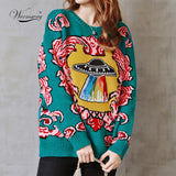 Women's Retro UFO Clouds Jacquard Pullover Knitted Sweater